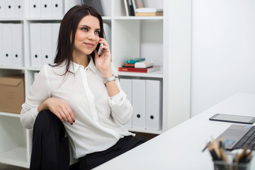 business woman with notebook in office, workplace