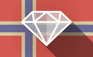 Long shadow Norway flag with a diamond