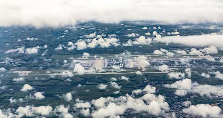 aerial of Munich Airport in the erdinger moos