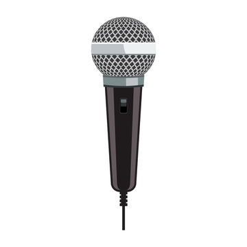 Realistic Microphone for Karaoke with flat color style design.