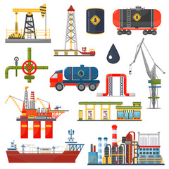 Oil gas industry infographics concept. Gasoline diesel fuel transportation and distribution icons.
