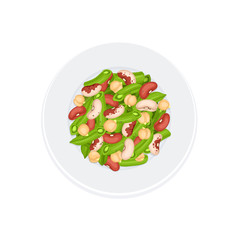 Fresh salad from beans, french beans and chickpea on plate isolated on white background. Salad plate from top view. Healthy food concept. Salad vector illustration for menu design.