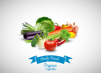 Fresh Vegetable with blue ribbon on a white background