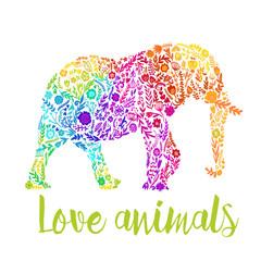 vector card with an Indian elephant. cute floral elephant. summer composition