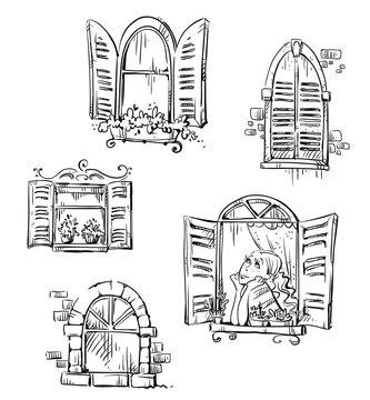 Set of hand drawn windows, vector illustration