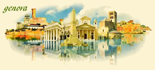 GENOVA city panoramic vector water color illustration
