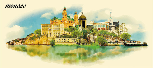 MONACO city water color panoramic vector illustration