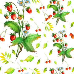 Watercolor seamless pattern - wild strawberry, red berries, green leaves. Watercolor