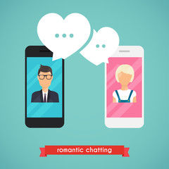 Online chat man and woman. Online dating graphic concept. Couple