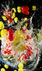 merry tomatoes and grape in water