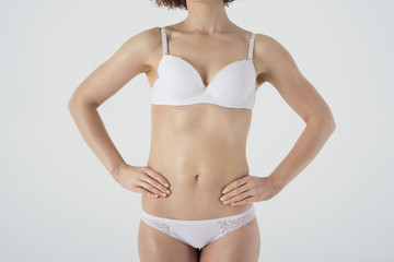 Part of woman's body in underwear