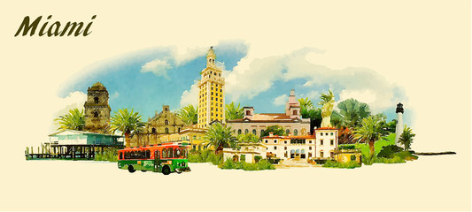vector panoramic water color  illustration of MIAMI city