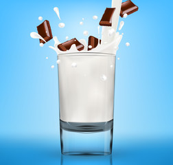 Vector milk splash in glass with chopped chocolate