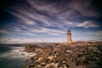 Foto op Canvas Vuurtoren Long exposure landscape, lighthouse in Galicia, Spain