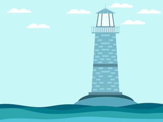 The lighthouse in the sea. Lighthouse in a flat style. Waves and lighthouse.