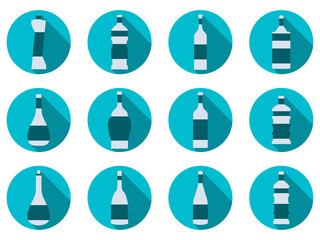Bottle set. Bottle of water. Flat icon with Long Shadow. Vector illustration.