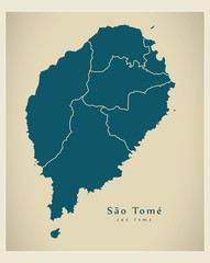 Modern Map - Sao Tome with districts ST