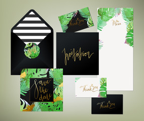 Trendy tropical jungle style vector wedding print set. Invitation cards, menu and envelope vector templates with exotic green, blue, pink plants with glittering gold blots and stripes texture.
