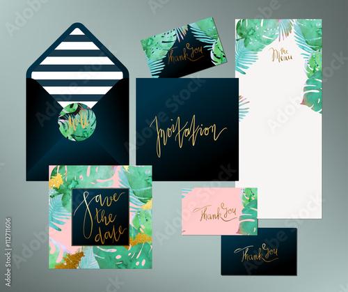 Trendy tropical jungle style vector wedding print set invitation trendy tropical jungle style vector wedding print set invitation cards menu and envelope vector stopboris Choice Image