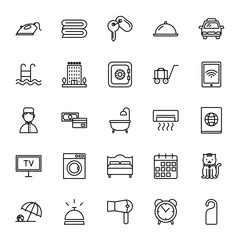 Hotel services. Set of vector icons. Outline style