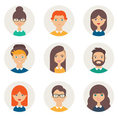 Set of avatars. Male and female characters. People's faces, man,