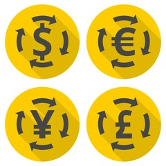 Currency Symbols set with long shadow