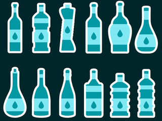Bottle. Set of bottles of different shapes. Vector illustration.