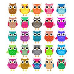 Set of cartoon owls. Vector illustration
