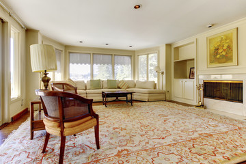 Excellent living room with decorative rug, furniture and a fireplace