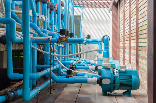 water System  swimming pool treatment plant with in the pumps and pipelines