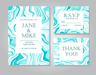 Vector Wedding invitation card suite with tiffany blue marble style texture