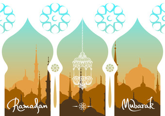 Ramadan Mubarak greeting card. Hand drawn calligraphy lettering on abstract cityscape background. Vector illustration.
