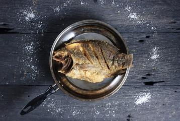 Deep Fried Tilapia Fish with salt, Top view