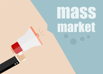 mass market. vector flat design business illustration concept. Digital marketing business man holding megaphone for website and promotion banners.