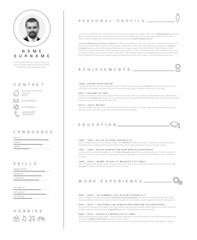 Minimalist resume cv template with nice typography