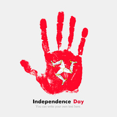 Handprint with the Flag Isle of Man in grunge style