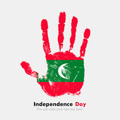 Handprint with the Flag of Maldives in grunge style