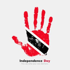 Handprint with the Flag of Trinidad and Tobago in grunge style