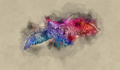 Colorful eagle in flight with watercolor overlay