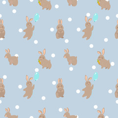 cute seamless pattern with vector rabbit