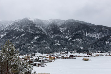 Village at the foot of the mountains in Austria