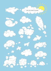 Set of funny clouds in the form of machines. Vector background.