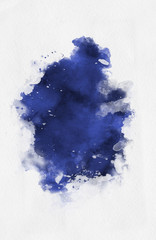 Violet watercolor paint banner with brushstrokes