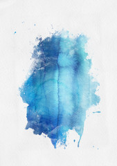 Blue watercolor paint banner with brushstrokes