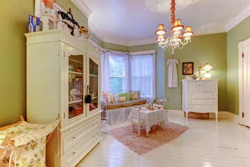 Cozy green girls room with white cabinets and pink rug