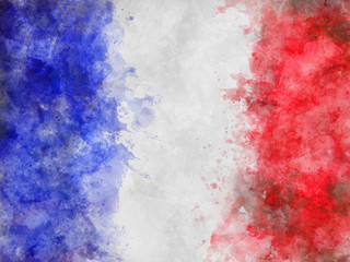 Blue, White and Red Painterly Flag of France