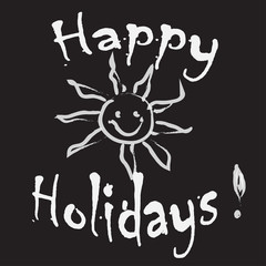 Happy Holidays Greeting card black and white