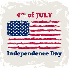 Fourth of july Independence Day background. Retro banner with American flag. American Independence Day celebration backdrop with grunge effect. Vector illustration.