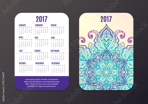 Pocket Calendar 2017 Mandala Design Vector Template Stock Image