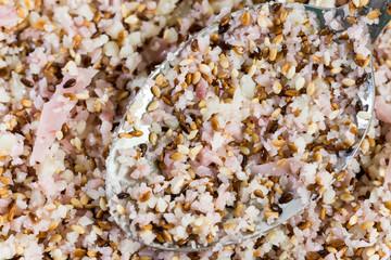 Sesame salad close up macro mixture salad spoon